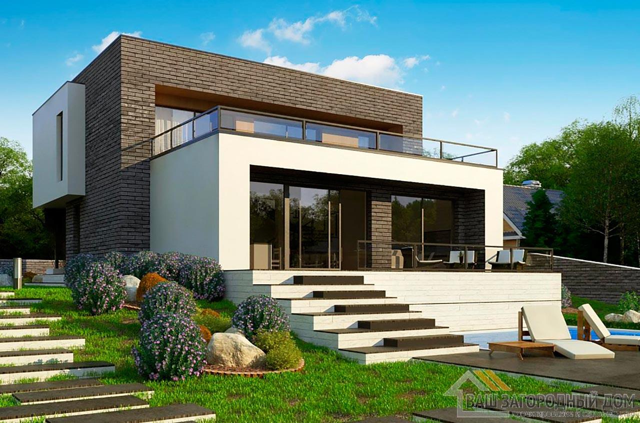 Современный двухэтажный проект площадью 200м2, К-220015 вид 2