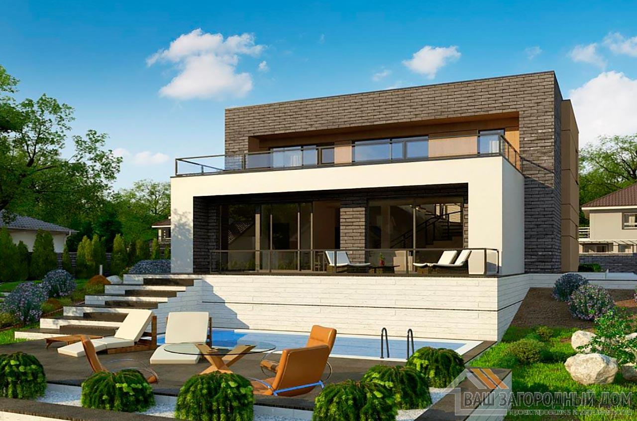 Современный двухэтажный проект площадью 200м2, К-220015