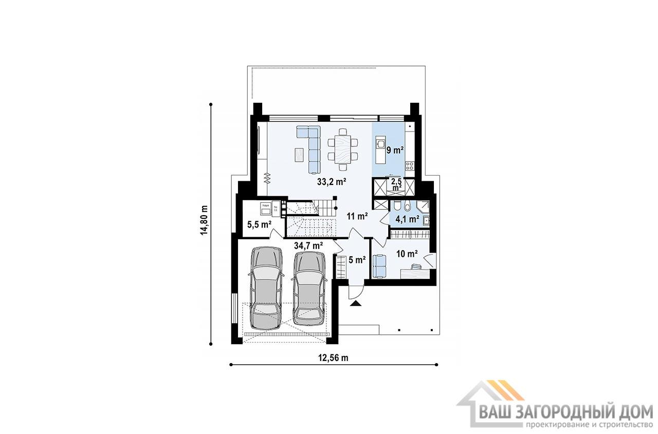 Современный двухэтажный проект площадью 200м2, К-220015 вид 4