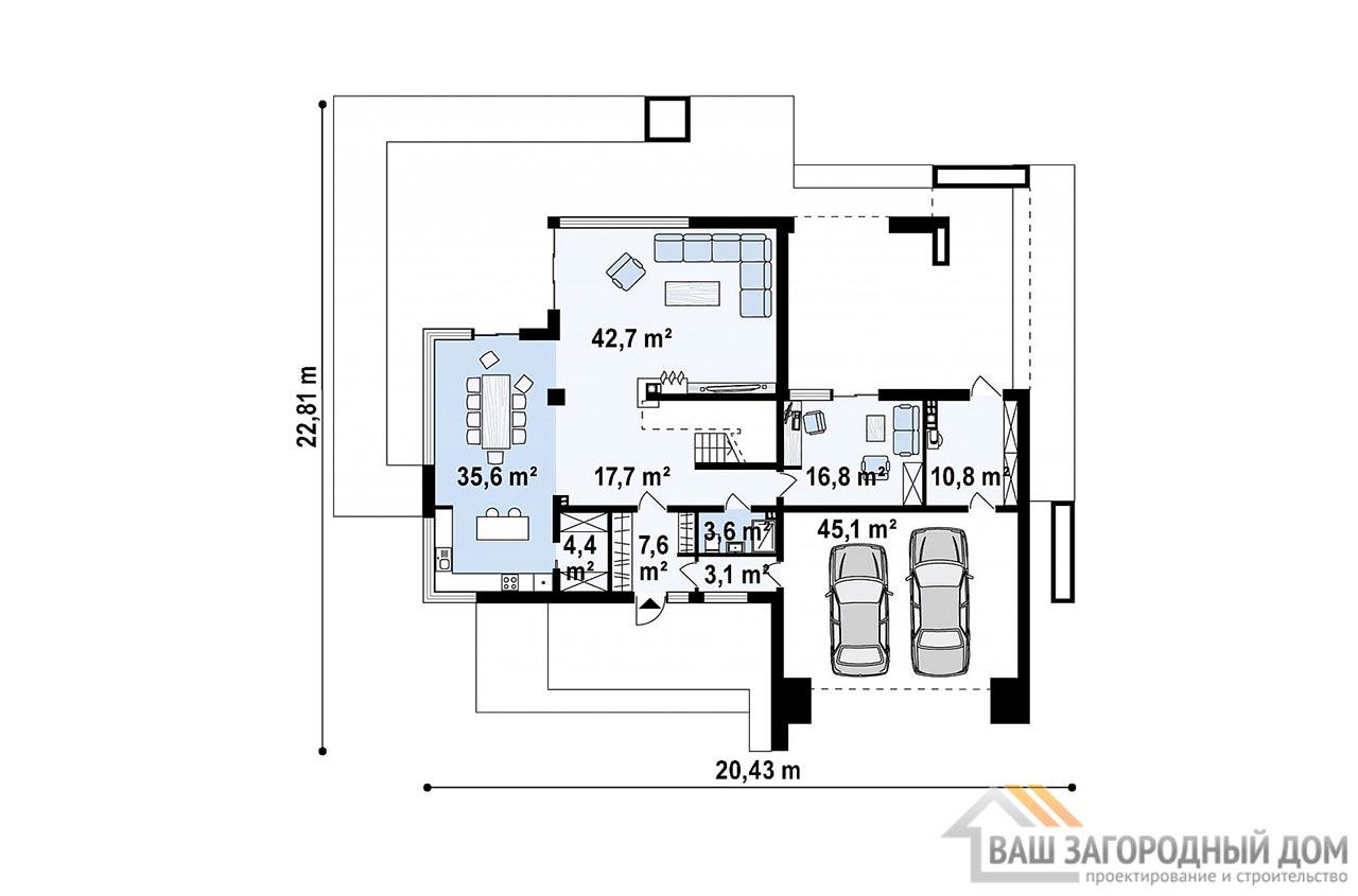 Эксклюзивный проект двухэтажного дома площадью 312м2, К-231223 вид 5