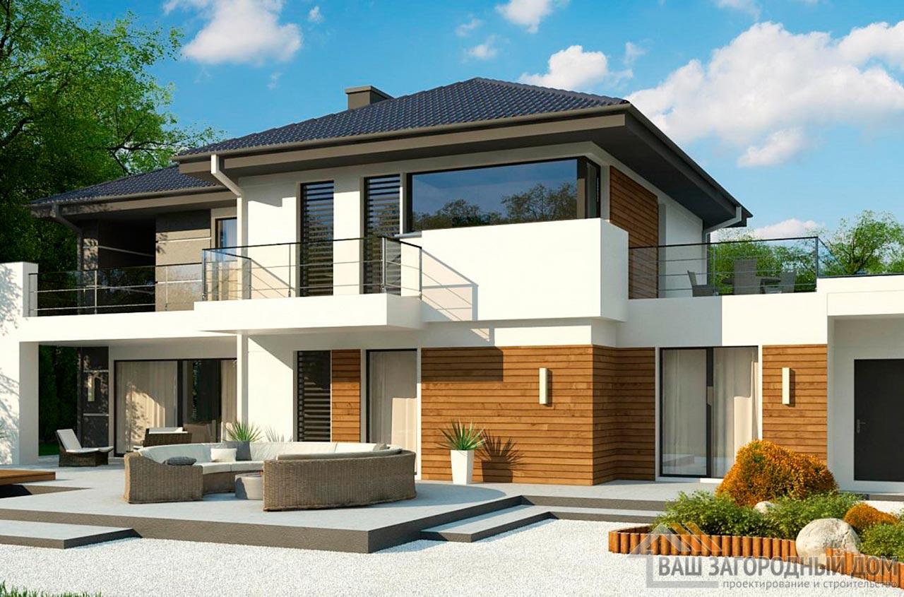 Проект 2-х этажного дома с гаражом площадью 281 м2, К-228121