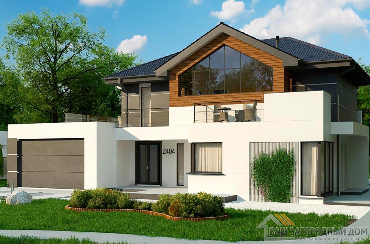 Проект 2-х этажного дома с гаражом площадью 281 м2, К-228121 вид 2