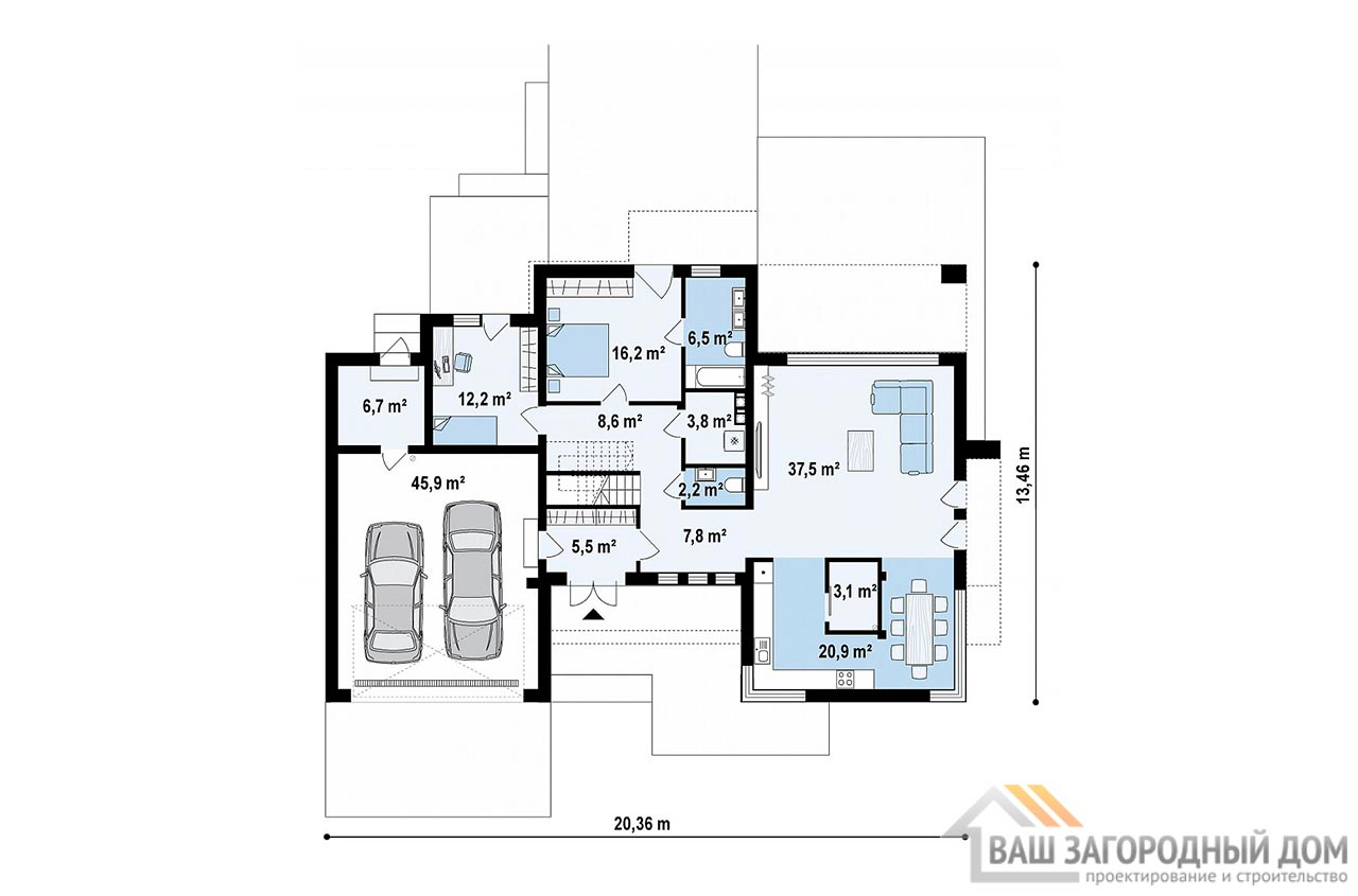 Проект 2-х этажного дома с гаражом площадью 281 м2, К-228121 вид 4