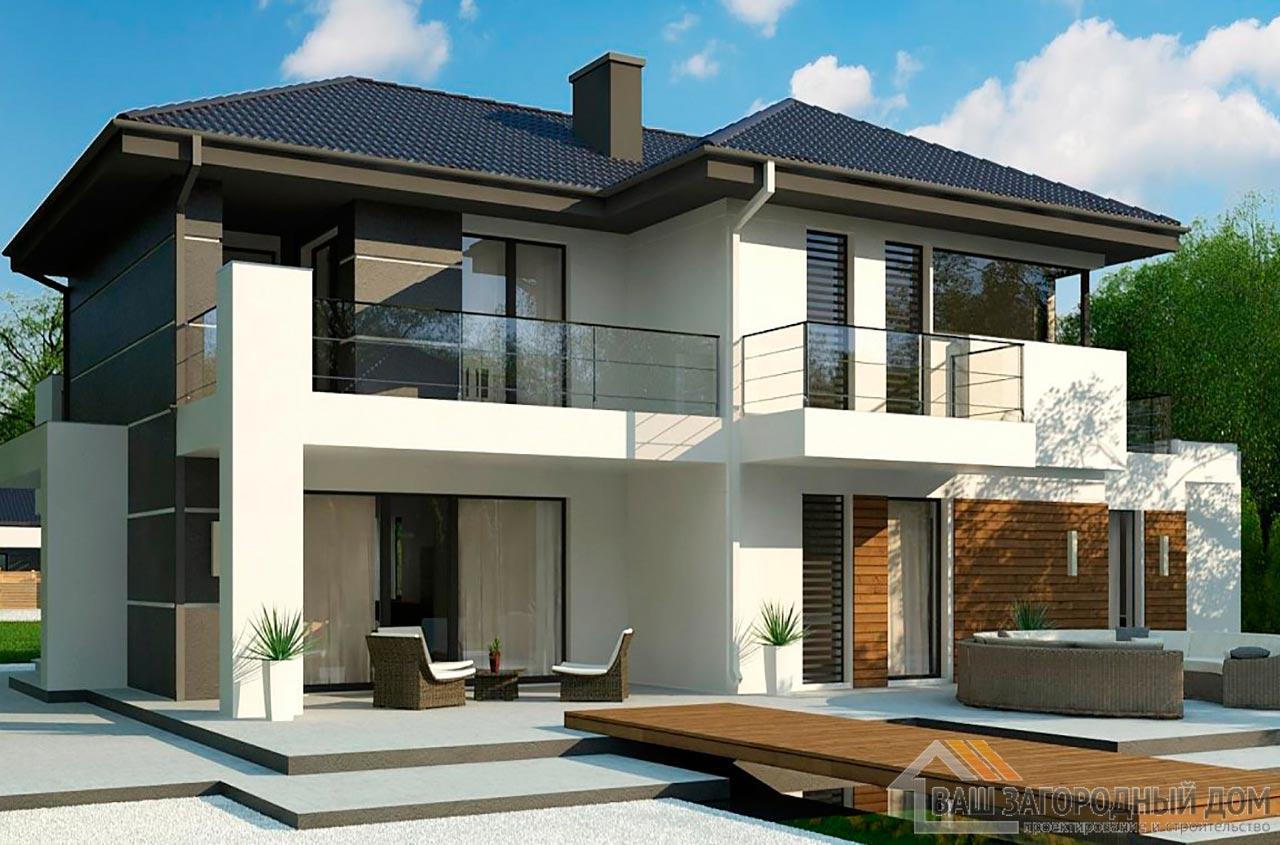 Проект 2-х этажного дома с гаражом площадью 281 м2, К-228121 вид 3
