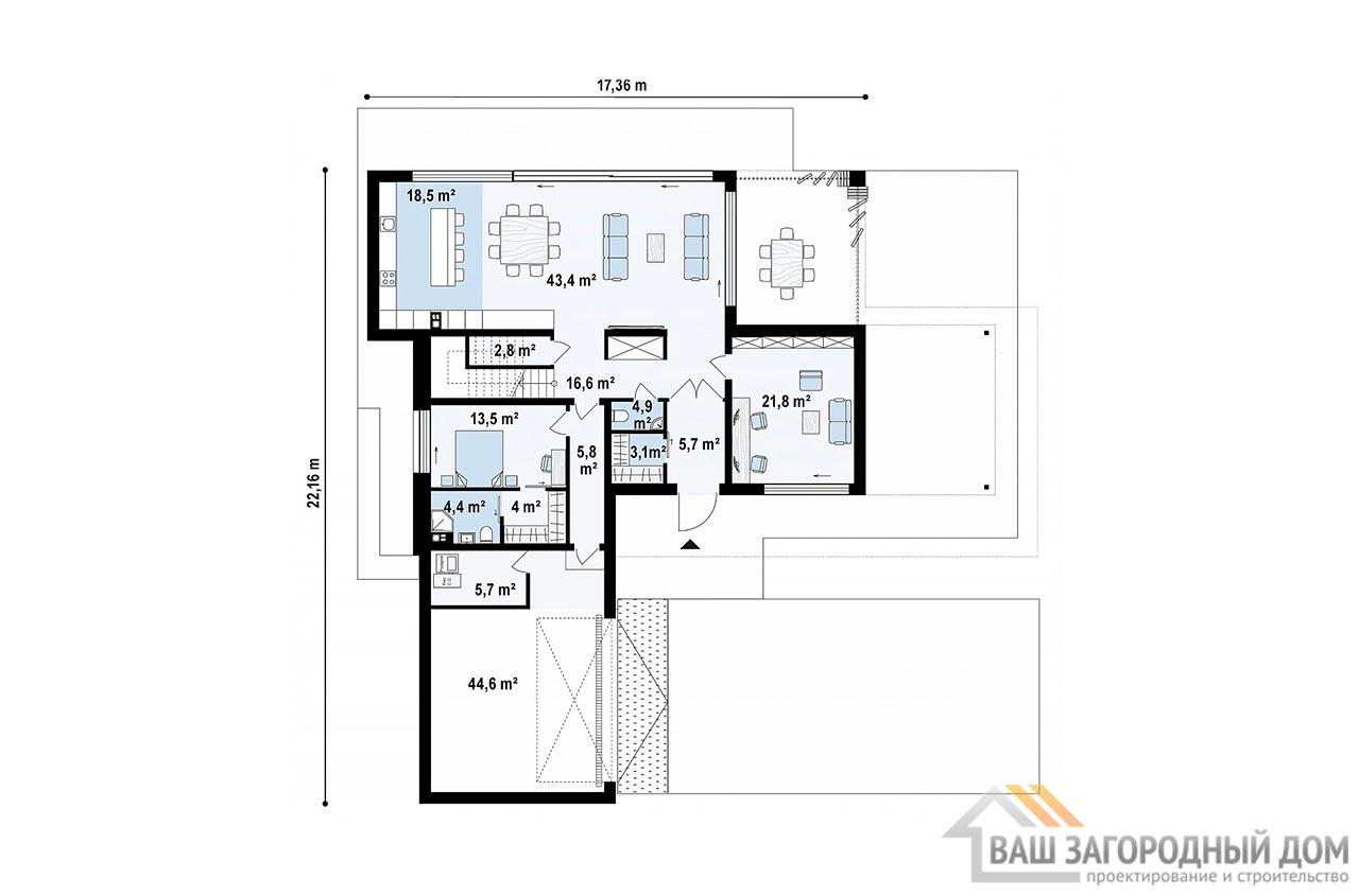 Проект просторного двухэтажного дома площадью 320м2, К-232024 вид 5