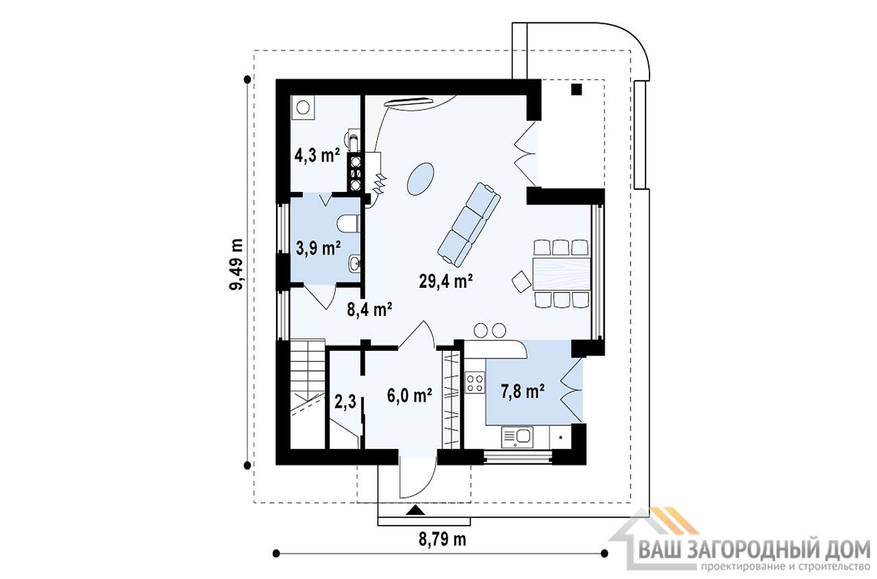 Готовый проект дома в два этажа площадью 122 м2, К212291 вид 3