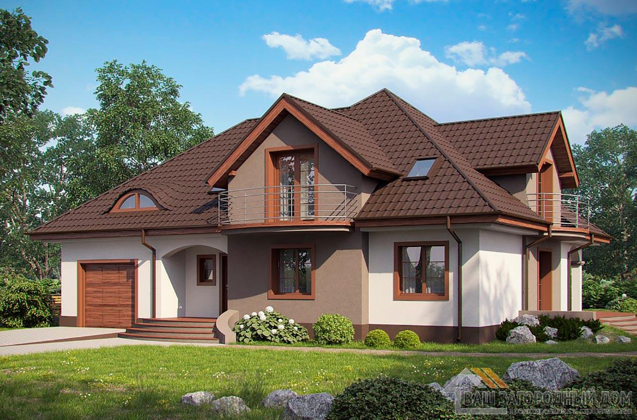 Проект дома с пристроенным гаражом общей площадью 262 м2, К-126219