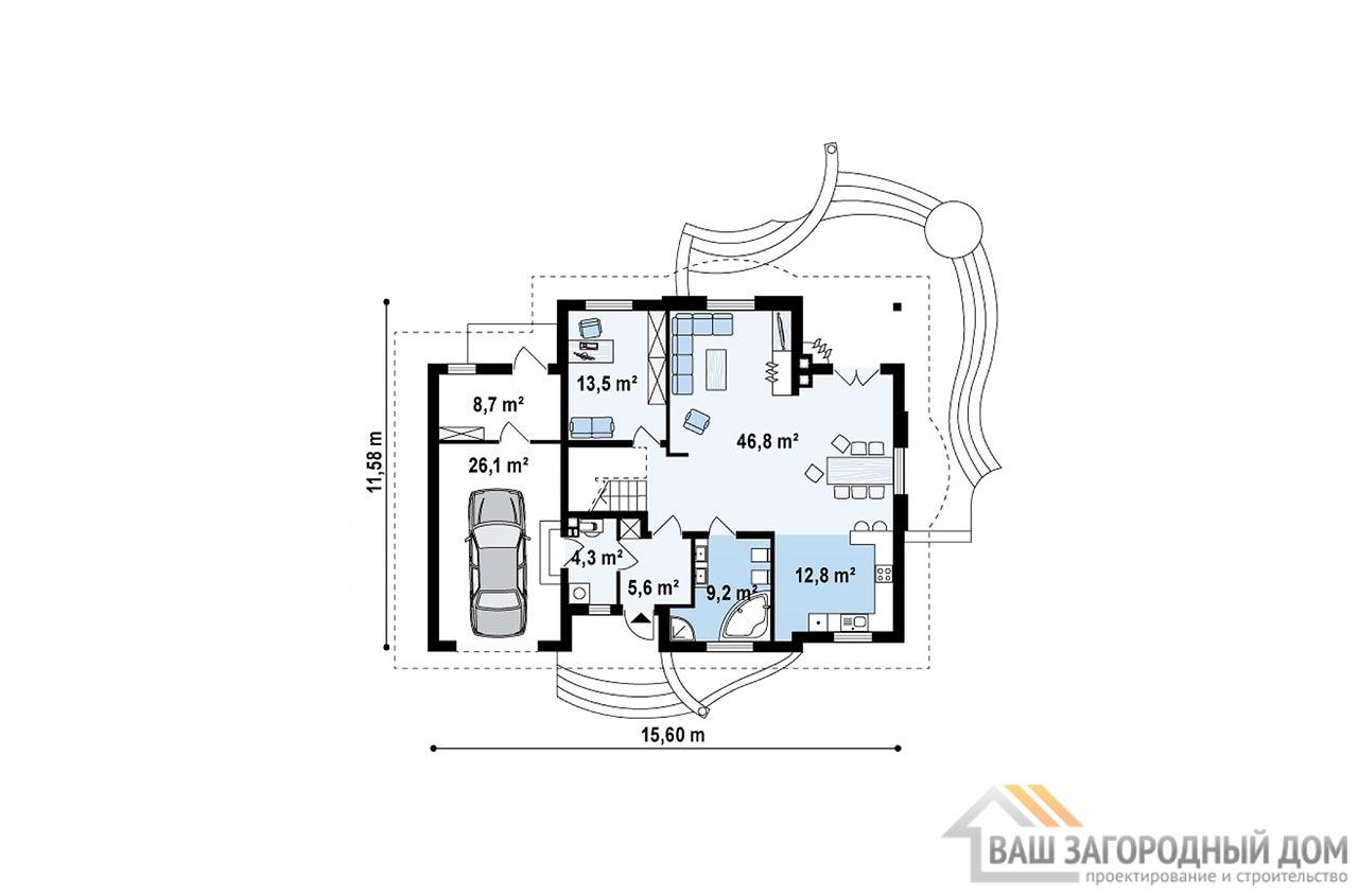 Проект дома с пристроенным гаражом общей площадью 262 м2, К-126219 вид 4