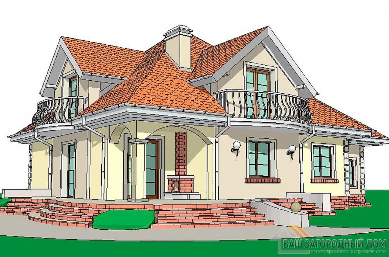 Проект дома с пристроенным гаражом общей площадью 262 м2, К-126219 вид 2