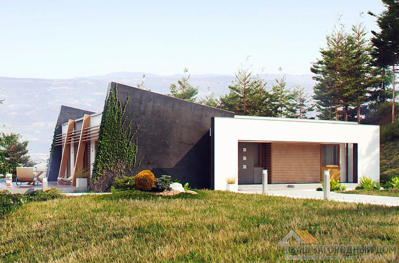 Проект одноэтажного современного дома площадью 123м2, К-112392