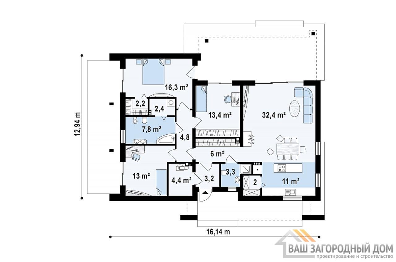 Проект одноэтажного современного дома площадью 123м2, К-112392 вид 3
