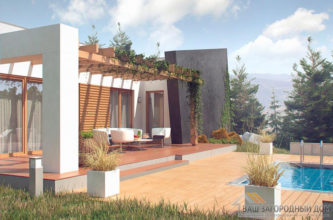 Проект одноэтажного современного дома площадью 123м2, К-112392 вид 2