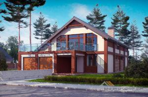 Готовый проект дома с мансардным этажом площадью 206 м2, К-120615