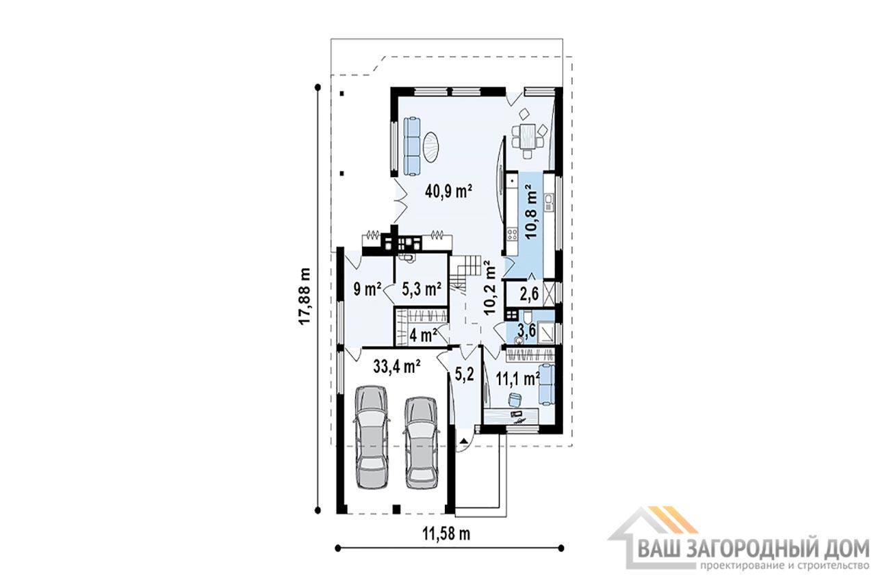Готовый проект дома с мансардным этажом площадью 206 м2, К-120615 вид 3