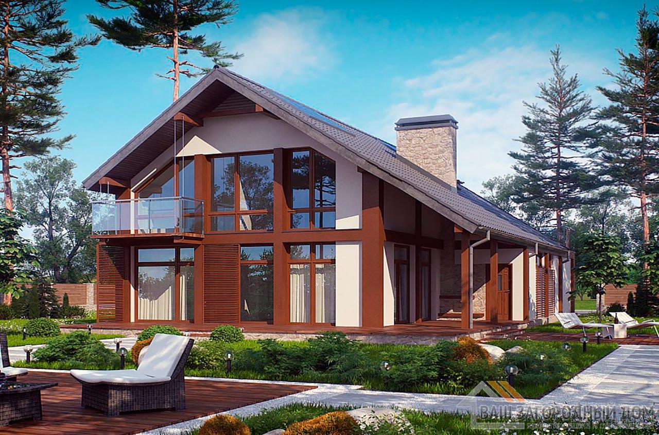 Готовый проект дома с мансардным этажом площадью 206 м2, К-120615 вид 2