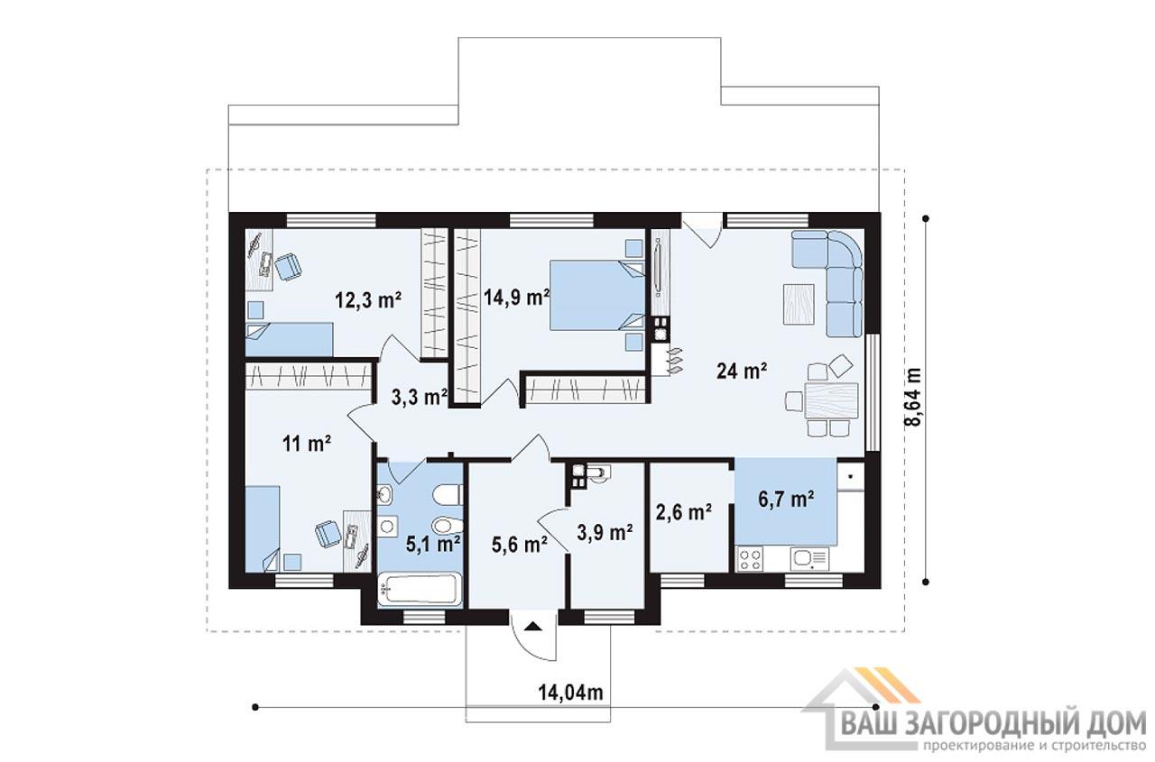 Проект элегантного одноэтажного дома площадью 95 м2, К-195719 вид 4