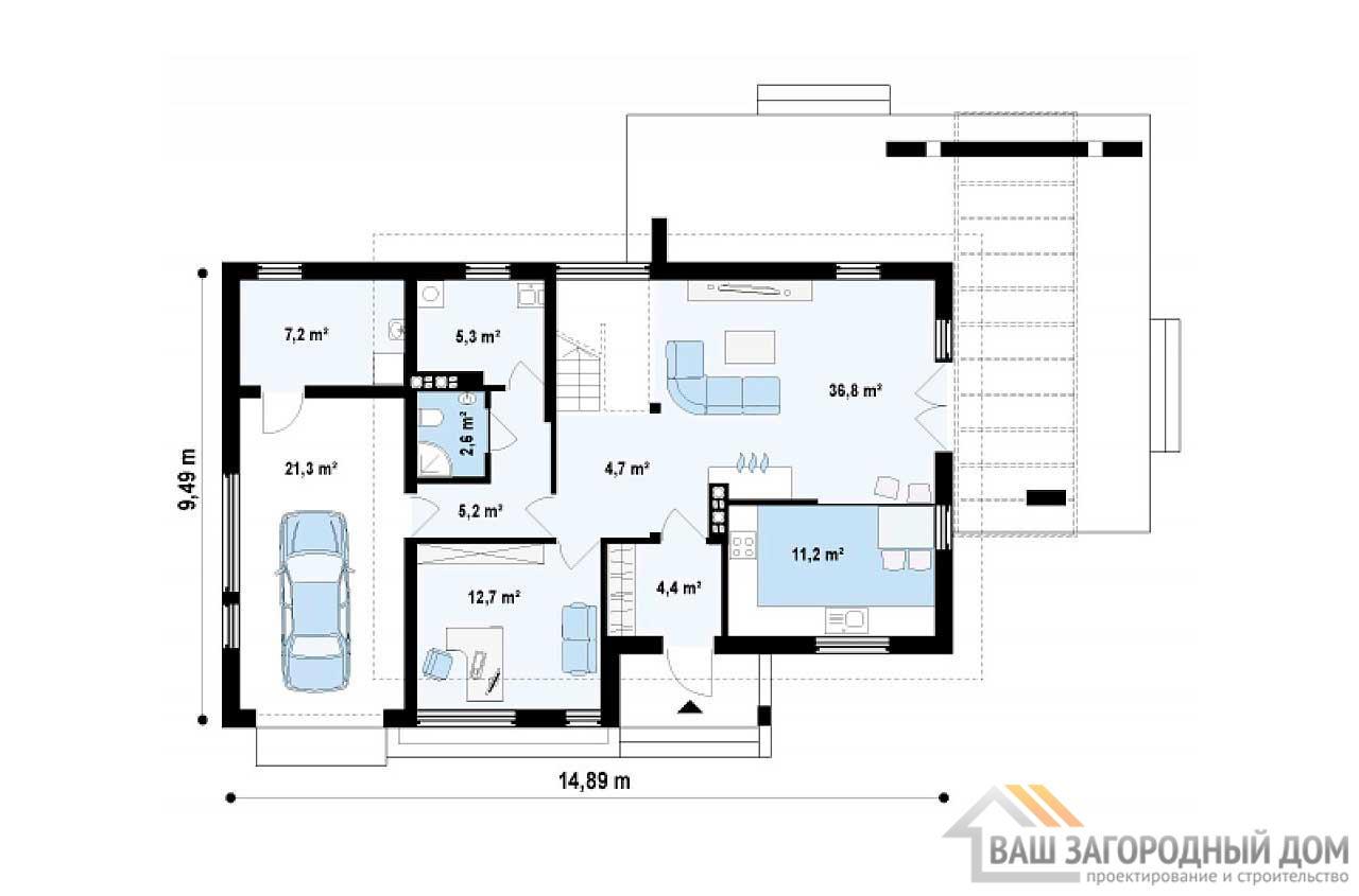 Современный проект дома в 2 этажа общей площадью 174 м2, К-217413 вид 3