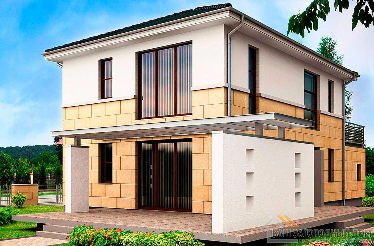 Современный проект дома в 2 этажа общей площадью 174 м2, К-217413 вид 2