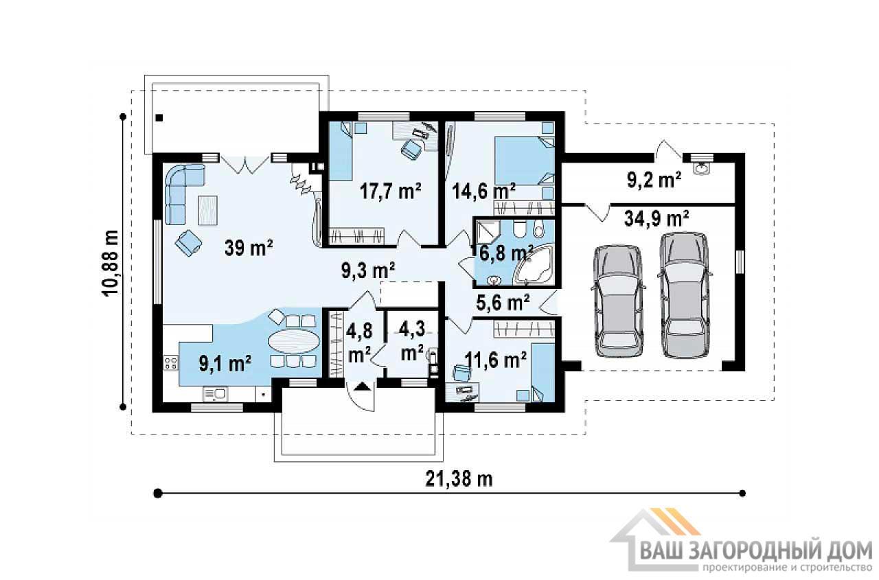 Проект дома в один этаж с гаражом площадью 167м2, К-116712 вид 3