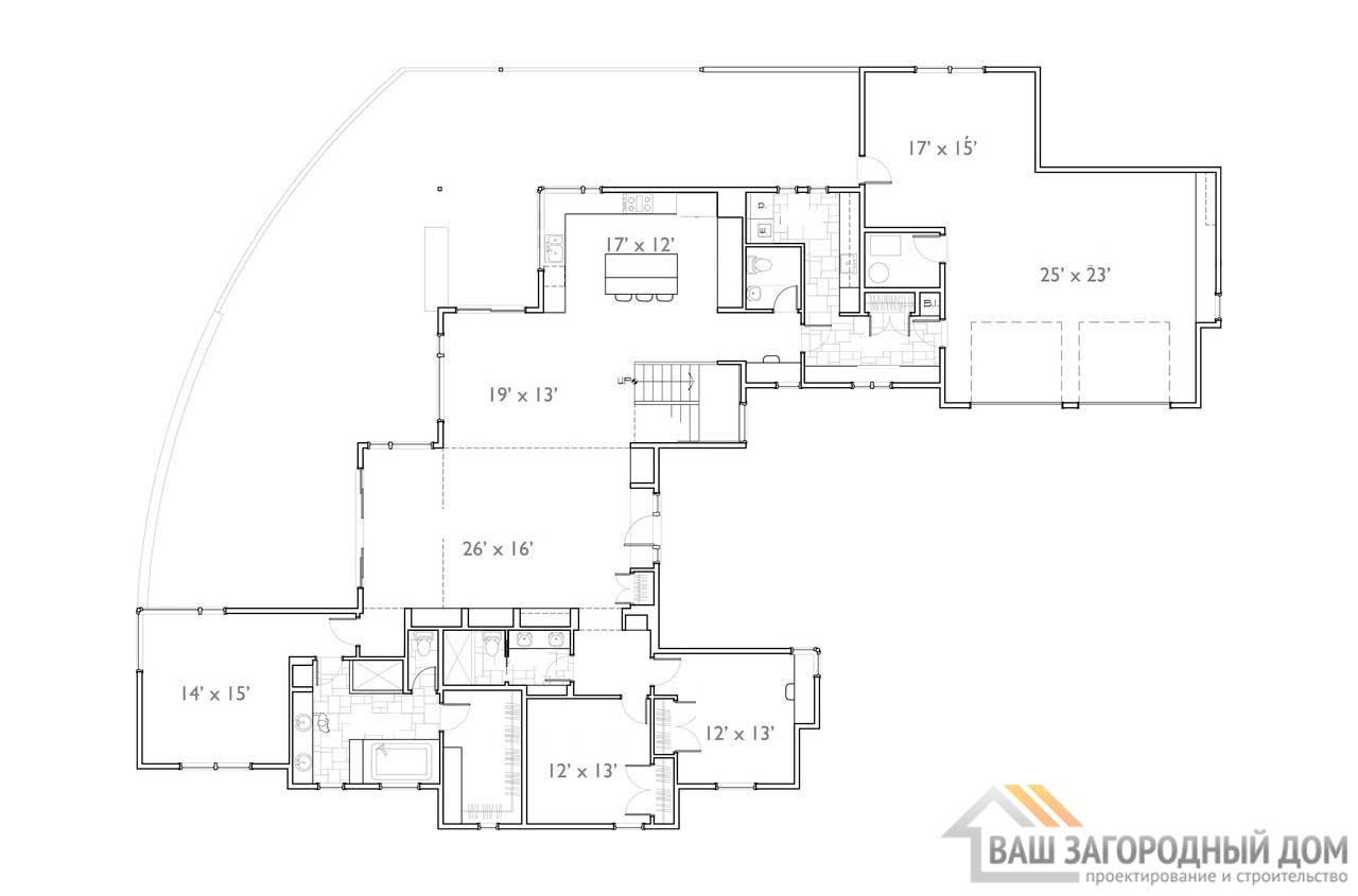 Готовый проект просторного дома в 2 этажа  площадью 980 м2, К-298073 вид 4