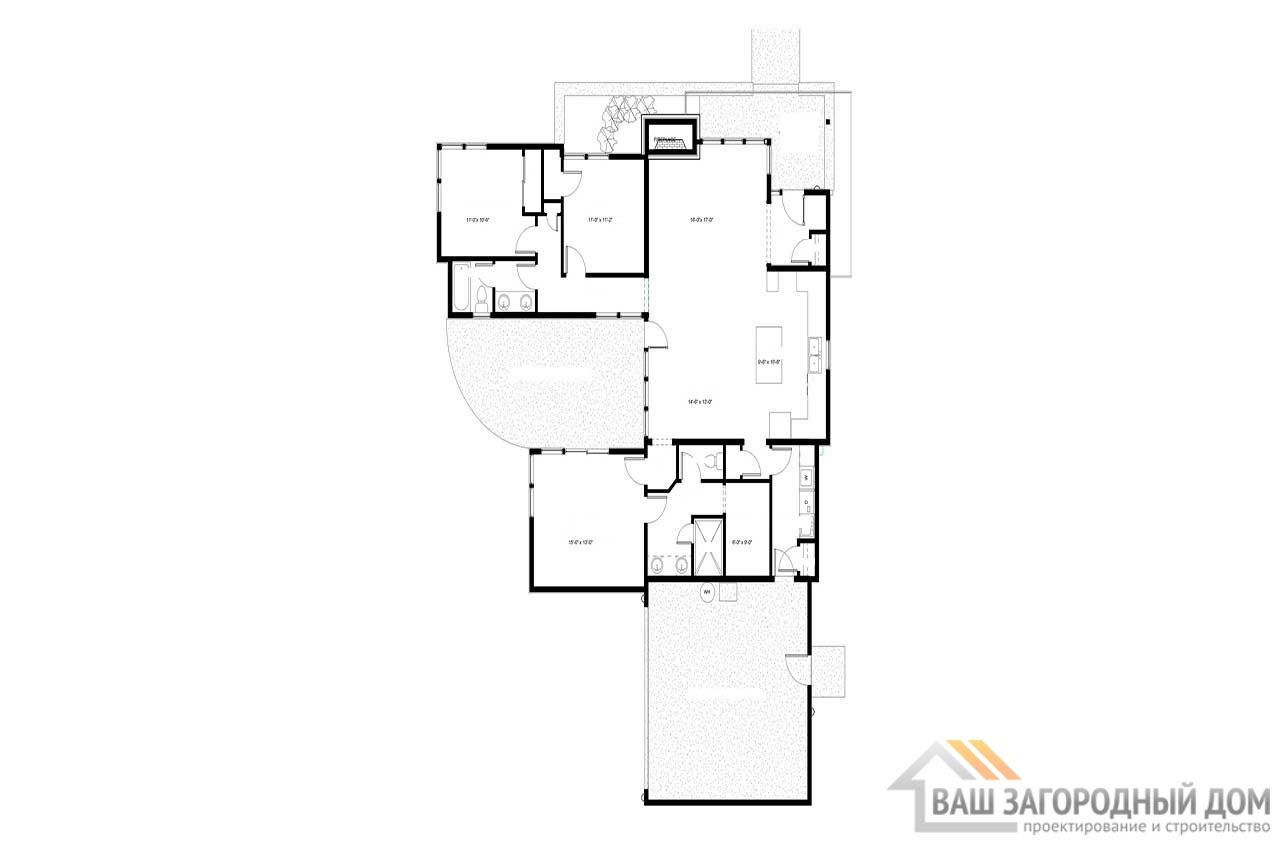 Нестандартный проект одноэтажного дома общей площадью 528 м2, К-252839 вид 3
