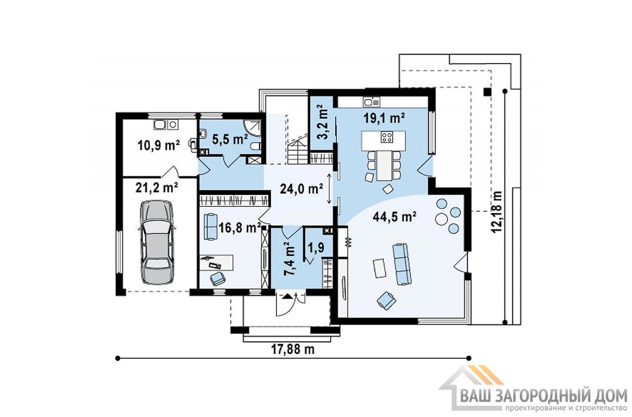 Проект современного дома в 2 этажа общей площадью 295м2, К-229522 вид 3