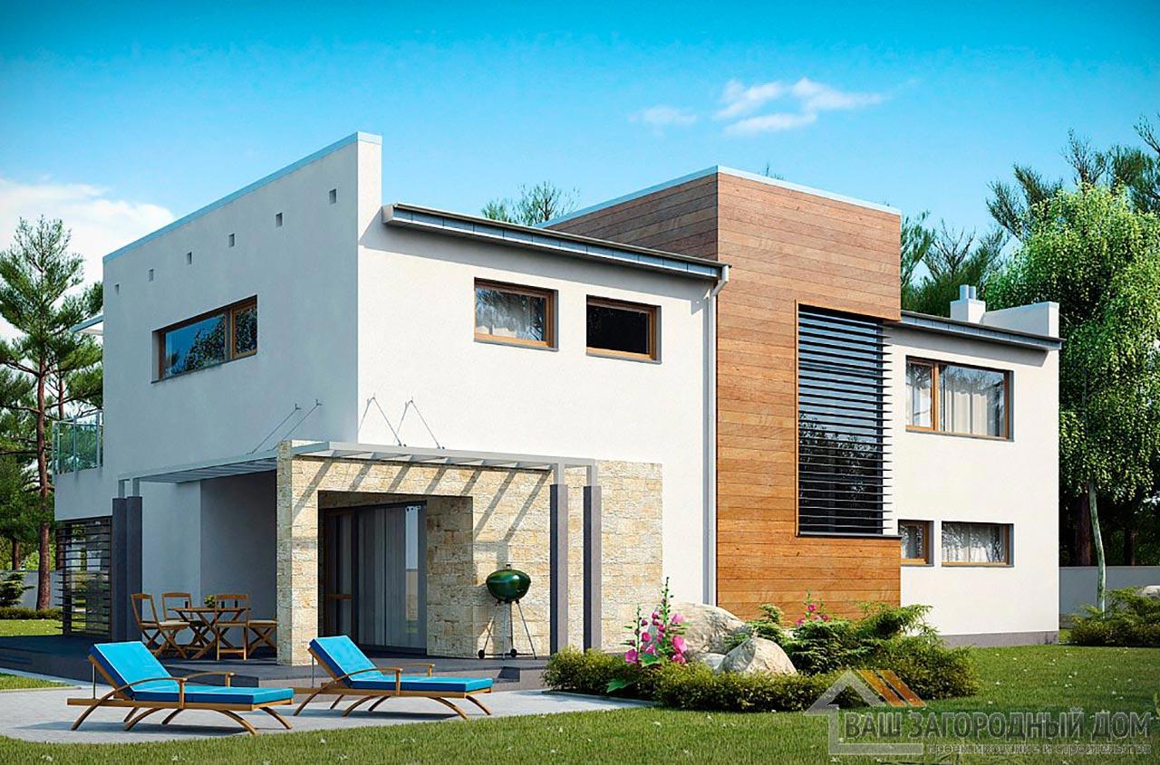 Проект современного дома в 2 этажа общей площадью 295м2, К-229522