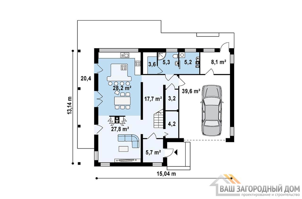 Готовый проект двухэтажного дома общей площадью 226 м2, К-222617 вид 3