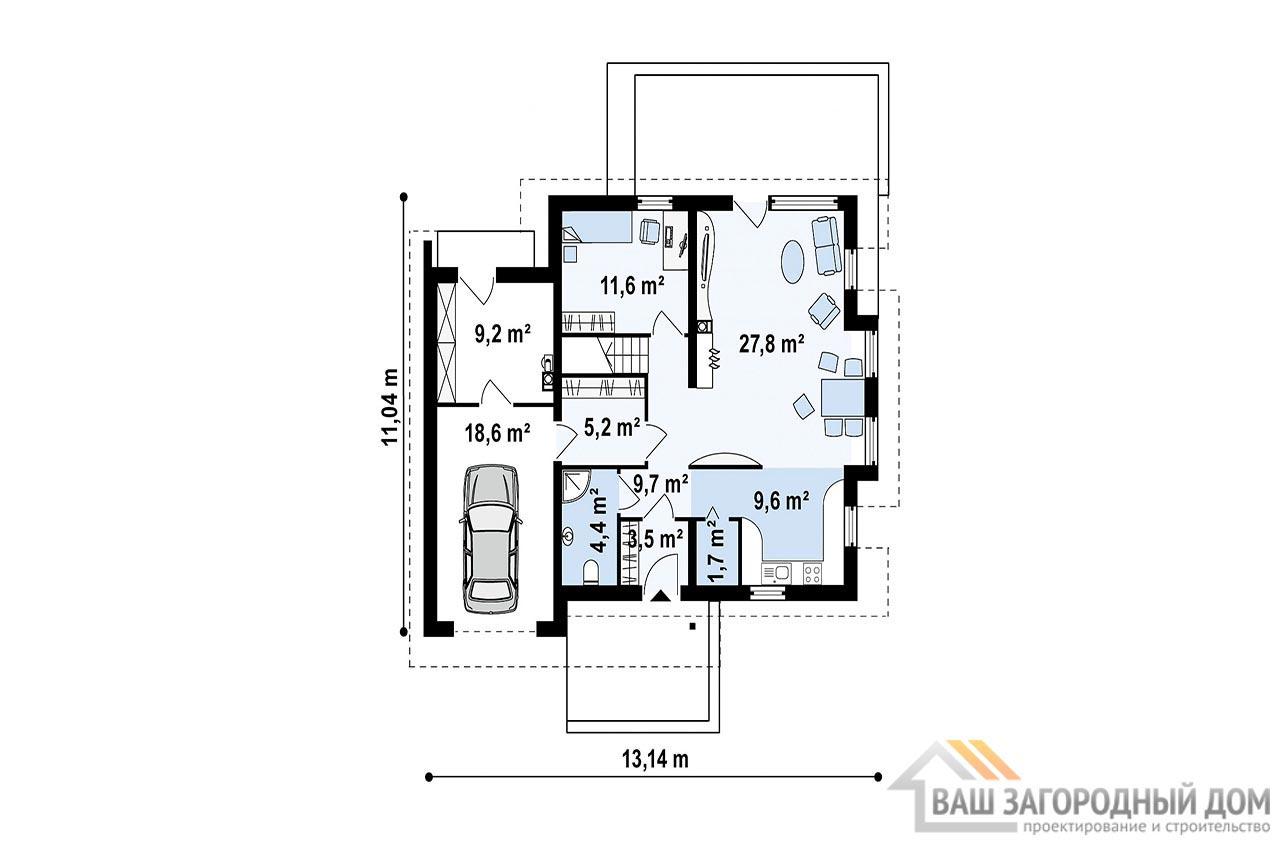 Проект привлекательного дома с мансардой общей площадью 198 м2, К-119814 вид 3