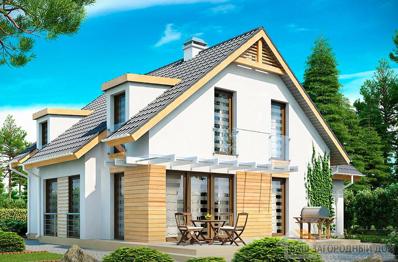 Проект привлекательного дома с мансардой общей площадью 198 м2, К-119814 вид 2