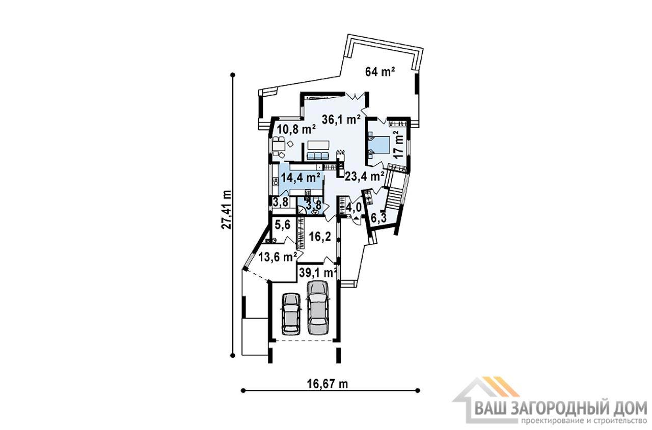 Готовый проект двухэтажного дома площадью 345м2, К-234525 вид 3