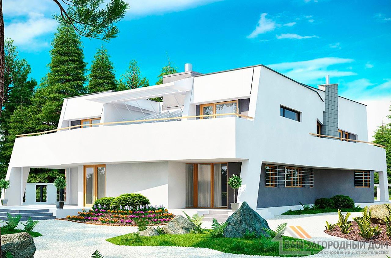 Готовый проект двухэтажного дома площадью 345м2, К-234525 вид 2