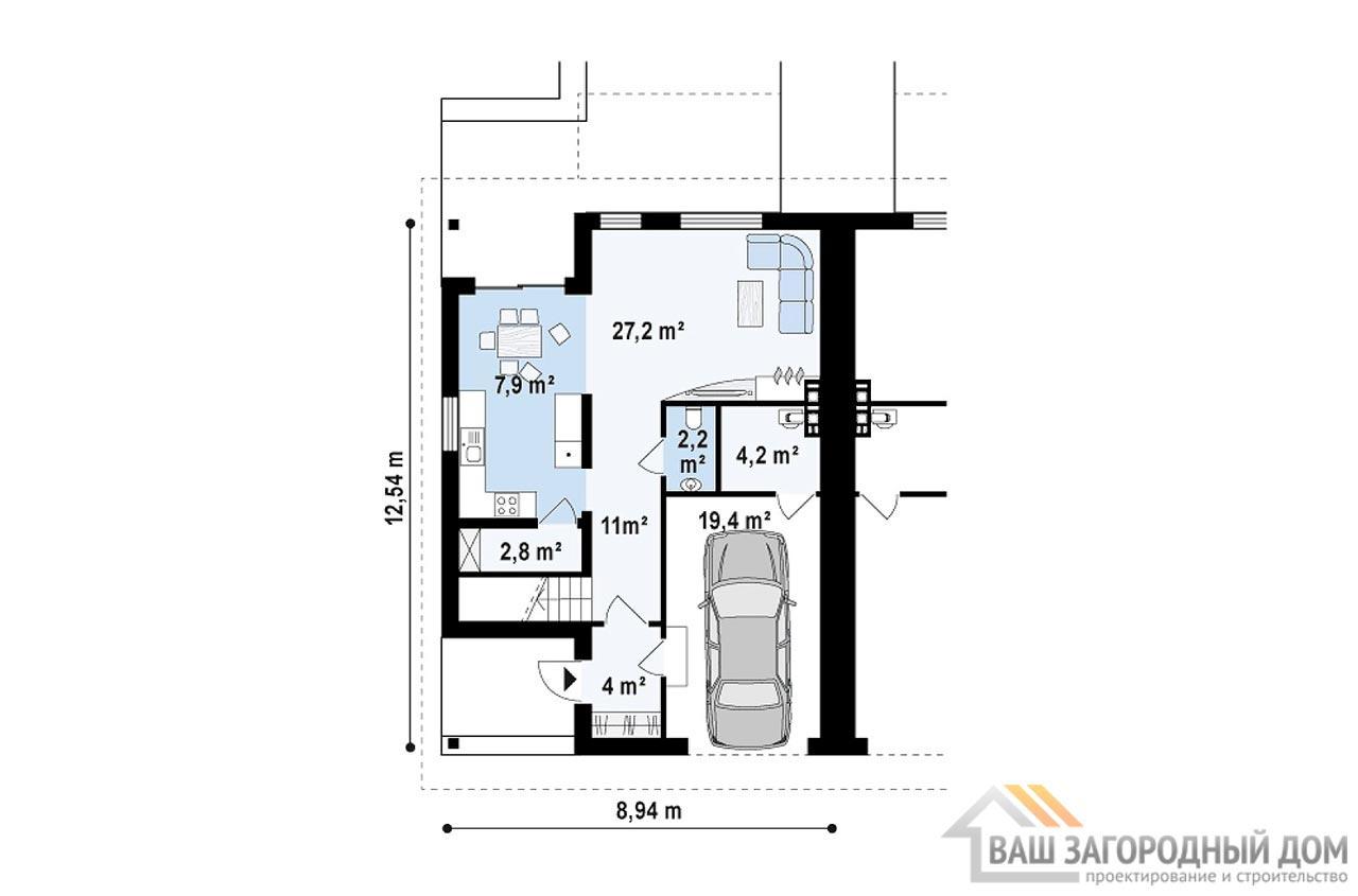 Проект двухквартирного дома общей площадью 326 м2, К-132624 вид 3