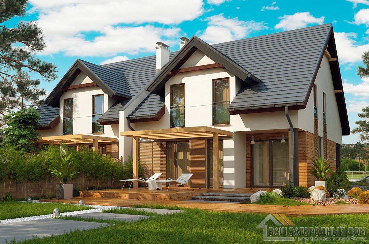 Проект двухквартирного дома общей площадью 326 м2, К-132624 вид 2