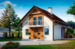 Готовый проект дома с мансардой общей площадью 78м2, К-178590