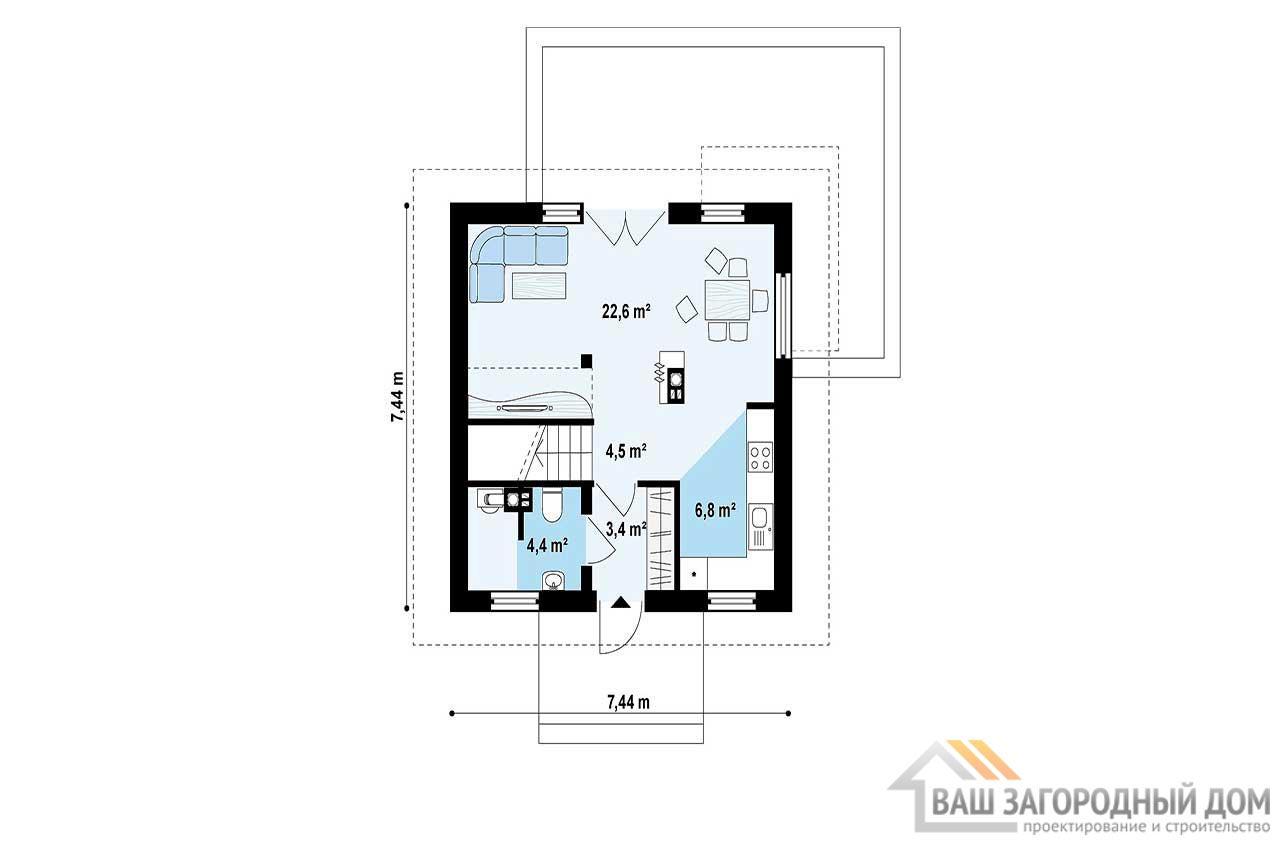 Готовый проект дома с мансардой общей площадью 78м2, К-178585, вид 3