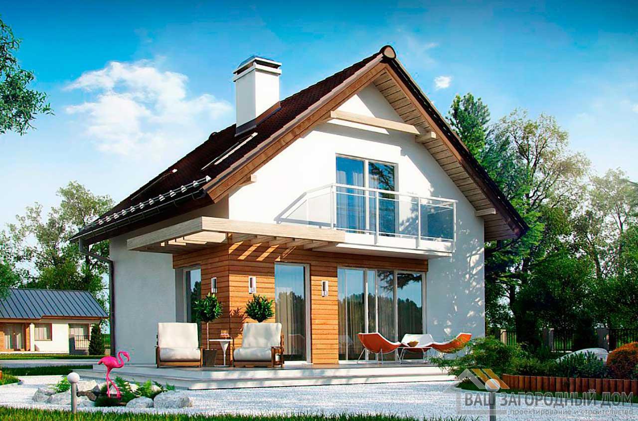 Готовый проект дома с мансардой общей площадью 78м2, К-178585
