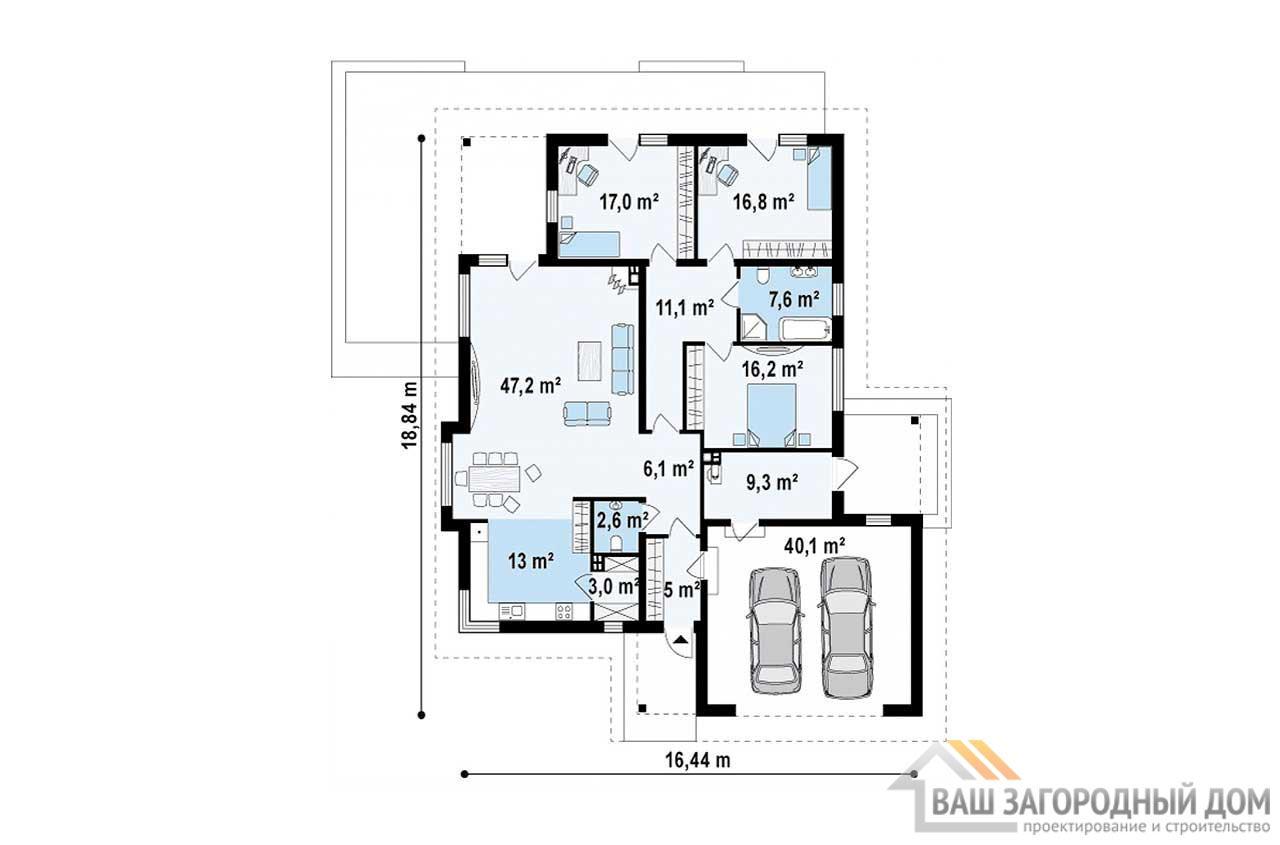 Проект просторного одноэтажного дома площадью189 м2, К-118914 вид 4