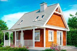 Проект дома с мансардой общей площадью 84 м2, К-184630