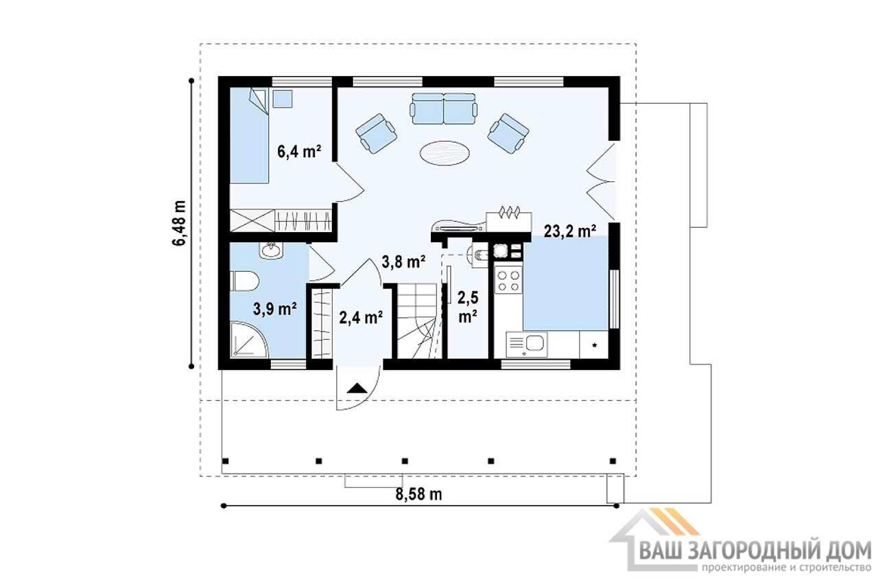 Проект дома с мансардой общей площадью 84 м2, К-184630 вид 3