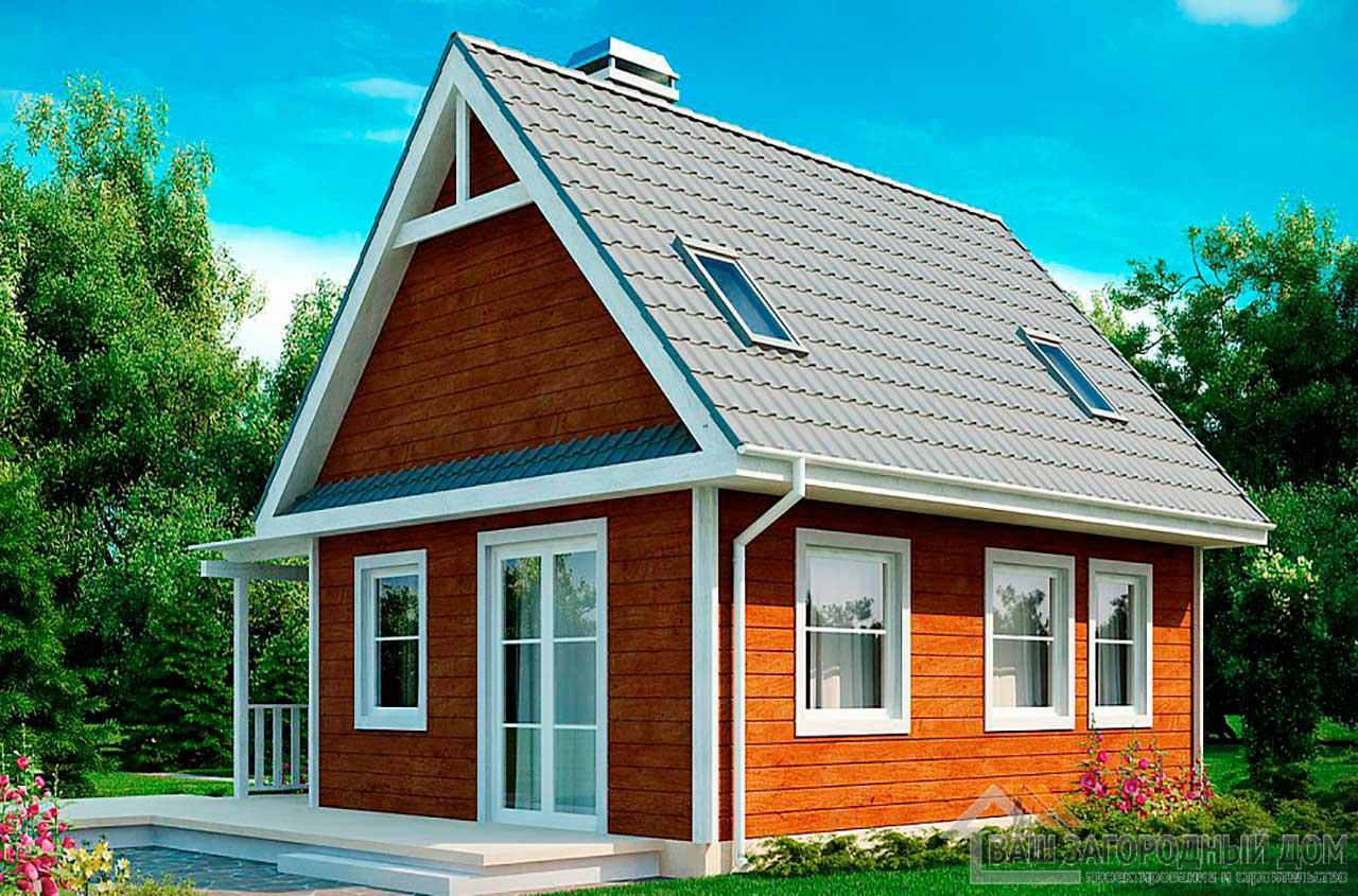 Проект дома с мансардой общей площадью 84 м2, К-184630 вид 2