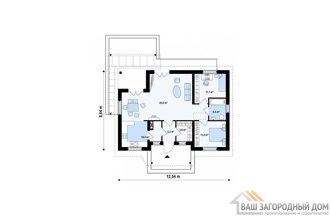 Проект одноэтажного дома площадью 80м2, К-180600 вид 3