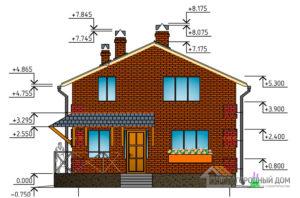 Проект дома в два этажа, общей площадью 122 м2, К-0037