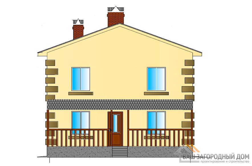 Готовый проект двухэтажного дома, общей площадью 178 м2, К-0078