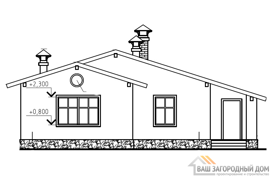 Готовый проект одноэтажного дома, общей площадью 69,6 м2, К-0058