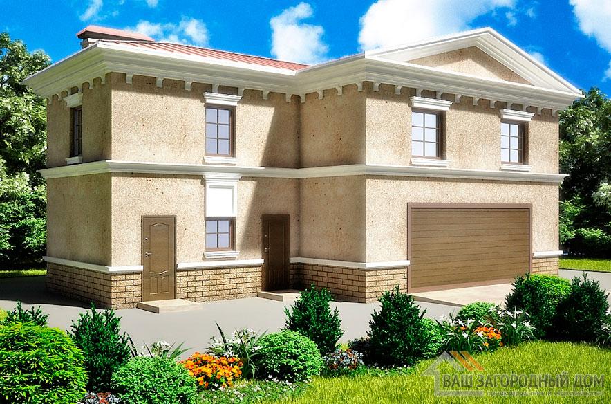 Проект дома в 2 этажа с гаражом, общей площадью 153 м2, К-0252