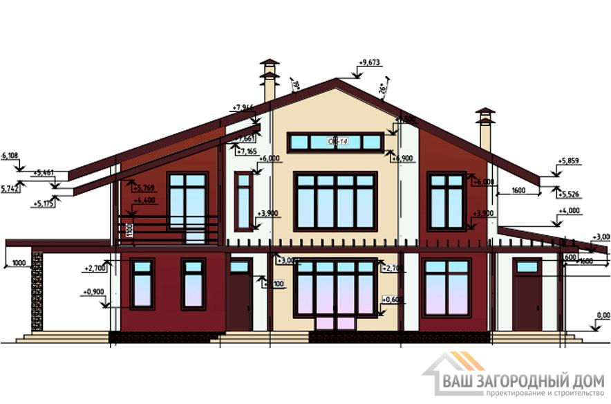 Проект дома в 2 этажа с мансардой, общей площадью 310 м2, К-0254