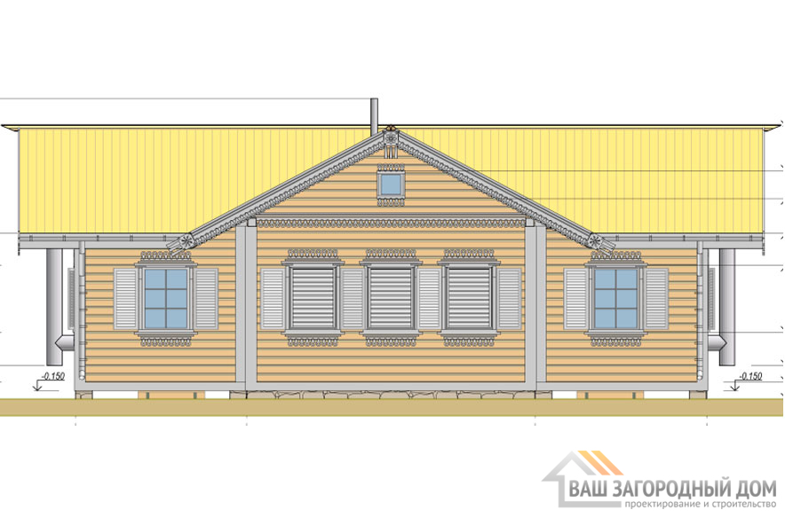 Проект деревянного дома в 1 этаж , общей площадью 69 м2, Д-0255