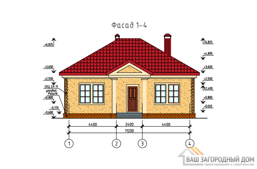 Проект дома в 1 этаж с террасой, общей площадью 108 м2, К-0256