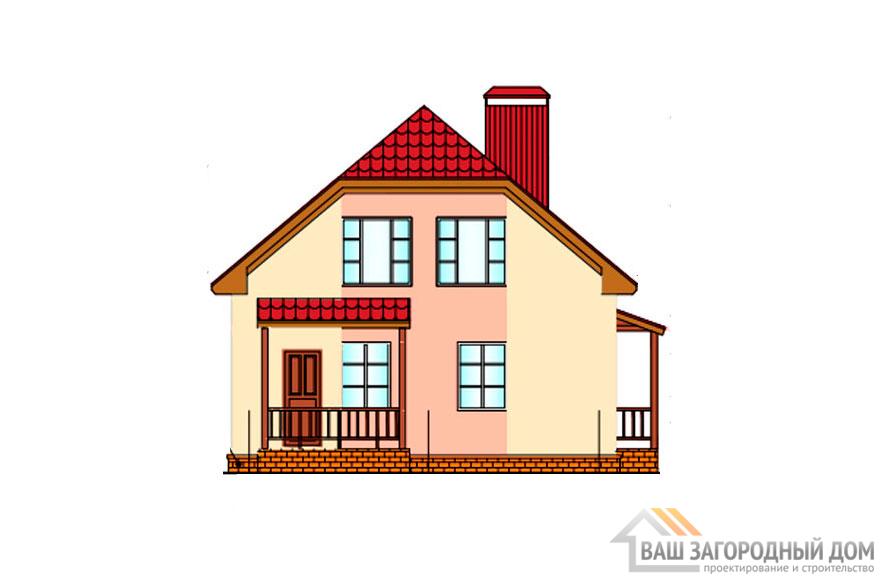 Проект дома в 2 этажа с террасой, общей площадью 136 м2, К-0257
